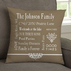 Family Memories Throw Pillow - 4 Colors