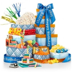 90th Birthday Gift Tower (Personalized Ribbon Option)