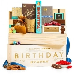 Personalized 90th Birthday Wooden Gift Basket