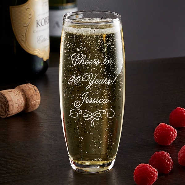 Personalized champagne glass is a fun birthday gift or party favor for any adult birthday!