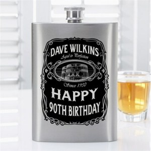 Personalized 90th Birthday Flask