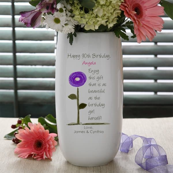 90th Birthday Flowers - Send Mom, Grandma or another special lady who is celebrating their 90th birthday a personalized flower vase!