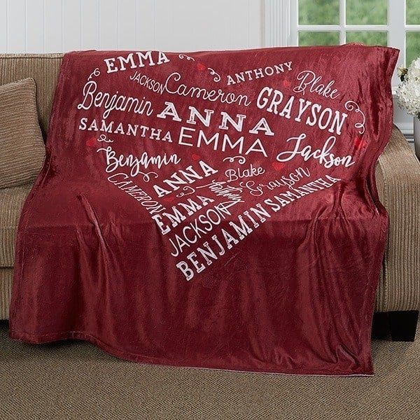 Personalized 90th Birthday Gifts for Women - What woman wouldn't love this beautiful heart of love blanket that features her family members names?