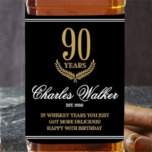 Personalized 90th Birthday Whiskey Bottle Label