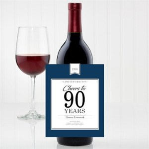 Cheers to 90 Years Personalized Wine Bottle Label - Choice of Colors