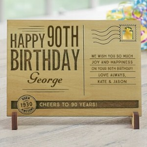 Personalized 90th Birthday Wooden Postcard
