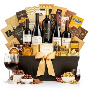 Red Wine & Chocolate Ultimate Gift Basket with Personalized Ribbon