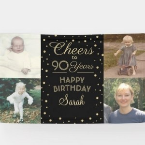 Cheers to 90 Years Photo Banner - 7 Colors