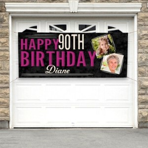 90th Birthday 2 Photo Banner - Pink or Teal