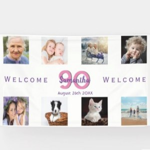 90th Birthday Banner with 8 Pictures