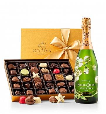 Godiva Chocolate and Champagne Gift Basket