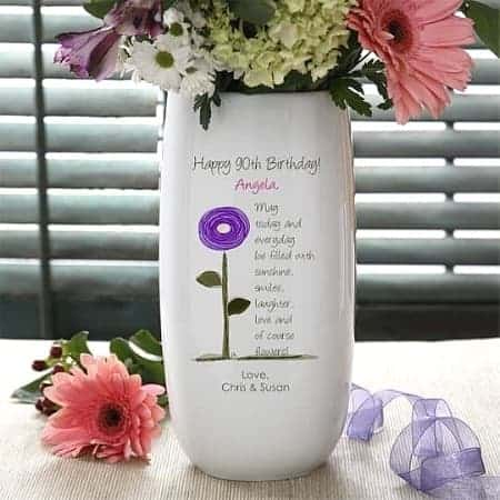 90th Birthday Flower Vase - Delight Mom, Grandma or another special lady on her 90th birthday with a personalized flower vase.