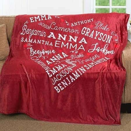 90th Birthday Gifts - wrap your favorite senior in love with this cuddly blanket that features family member's names. A perfect Christmas or birthday gift for any older man or woman!